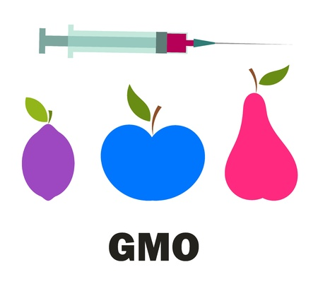 apple gmo: Genetic modified fruits - vector concept