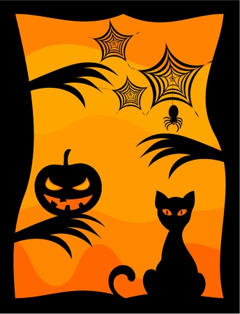 Halloween scenery background - cat, scary pumpkin and spider Vector