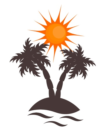 desert sunset: Desert island with palm trees. Vector illustration Illustration