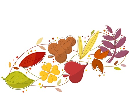 windy day: Autumn leaves falling in the wind. Vector illustration