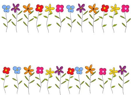 stem: Colorful Cartoon fleurs frontière. Vecteur de fond