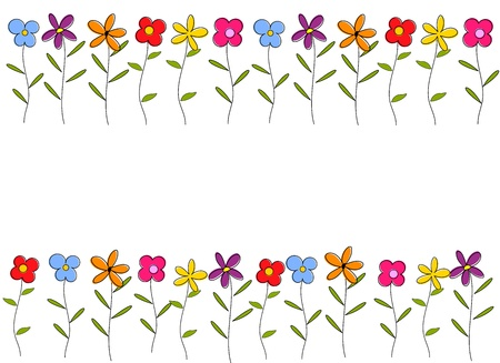 meadow flower: Colorful cartoon flowers border. Vector background Illustration