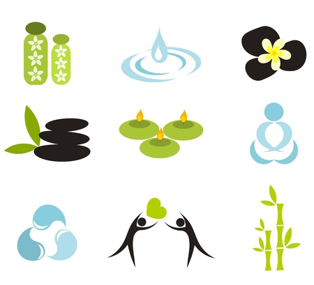 bamboo leaf: Vector spa icons