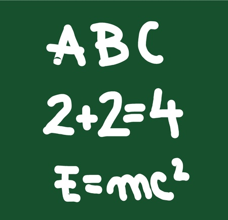 torment: School board with abc, physics formula and mathematical operation. Vector illustration