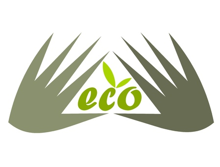 unit: Concept of environment protection - hands and eco. Vector illustration Illustration