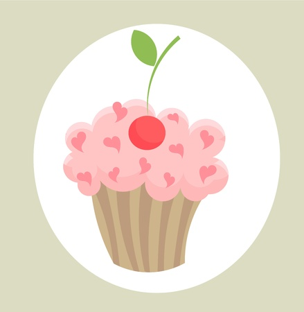 One cupcake with cherry Vector