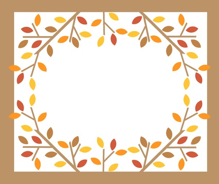 fall leaves border: Colorful leaves on tree branches - autumn frame. Vector illustration