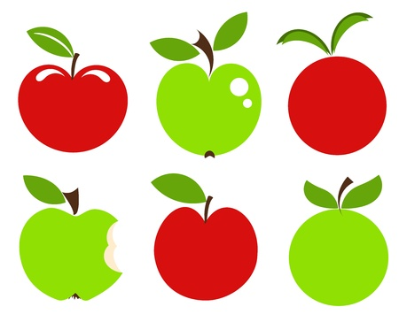 bite: Set of red and green apple vector icons.