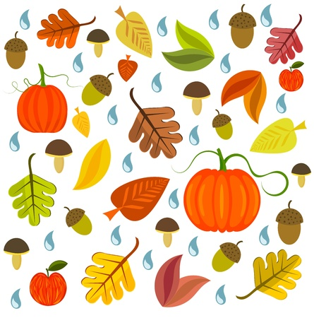 Autumnal texture with leaves, pumpkins and mushroom. Vector illustration Vector