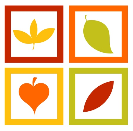 leaves vector: Autumn pictures with colorful leaves - vector illustration Illustration