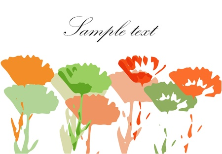 marigold: Colorful painted flower meadow background Illustration