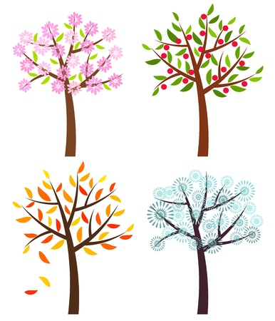 Four seasons trees: spring, summer, autumn and winter . Vector illustration Vector