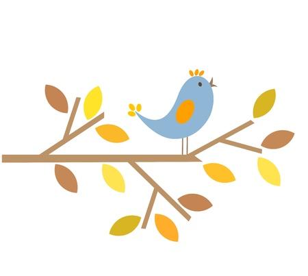 twig: Bird singing last summer song. Autumn is comming Illustration