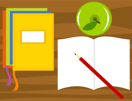 studing: Back to school. Top view of desk with exercise books, pencil, apple and blank paper. Vector illustration