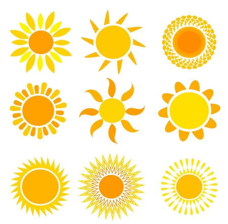 sol caricatura: Conjunto de soles simb�licos - ilustraci�n vectorial Vectores
