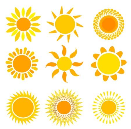 """słońce: Zestaw symbolicznych sÅ'oÅ""""c - ilustracji wektorowych Ilustracja"""