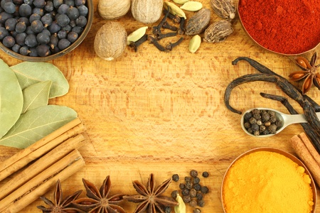 flavoring: Frame made of different spices - cinnamon, star anise, nutmeg Stock Photo