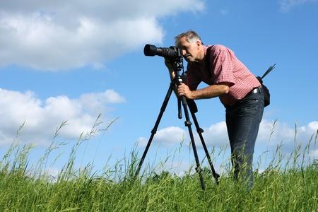 Professionele fotograaf van de natuur Stockfoto