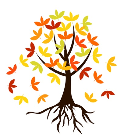 Autumnal tree with colorful leaves and roots Vector