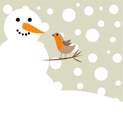 winter fun: Happy Christmas sneeuwman en Robin vogel. Winter vrienden Stock Illustratie