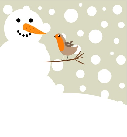 Happy Christmas snowman and robin bird . Winter friends
