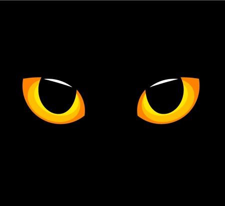 vision nocturna: Hipn�ticos ojos de gato amarillo en la oscuridad. Ilustraci�n vectorial