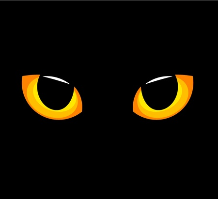 halloween eyeball: Hypnotic yellow cat eyes in darkness. Vector illustration
