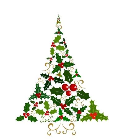 christmas berries: Astratto albero di Natale isolato composto da vari agrifoglio bacca foglie e frutti