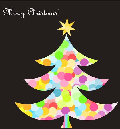 Abstract colorful christmas tree. Vector card illustration Vector