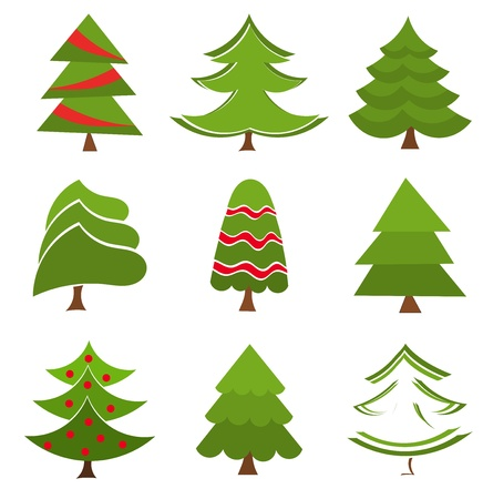 Christmas trees collection. Vector illustration