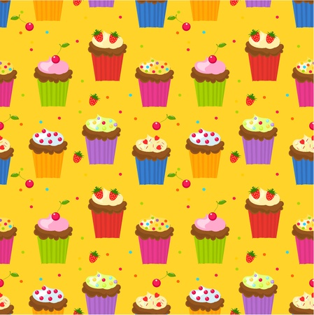 candy hearts: Seamless pattern with cupcakes