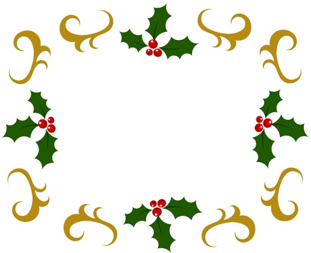 Holly berry Christmas frame. Vector illustration Vector