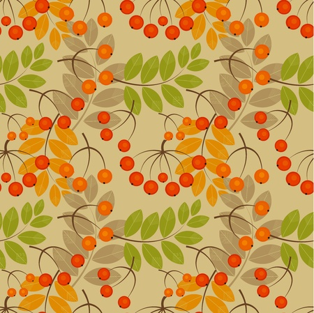 Rowan berry seamless texture. Autumn vector illustration Vector