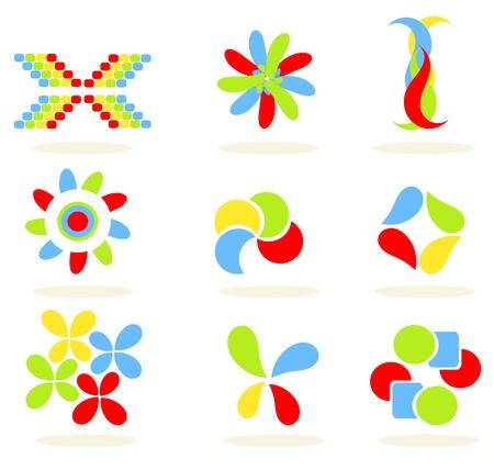 colour fan: Set of colorful vector symbols