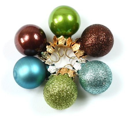 Colorful Christmas baubles photo