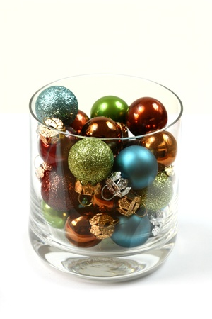 Christmas glass balls in glas. Original decoration photo