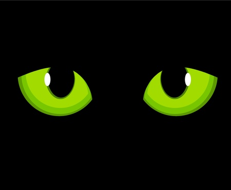 Cat green eyes.  Vector
