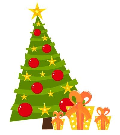 Weihnachtsbaum und Geschenke.