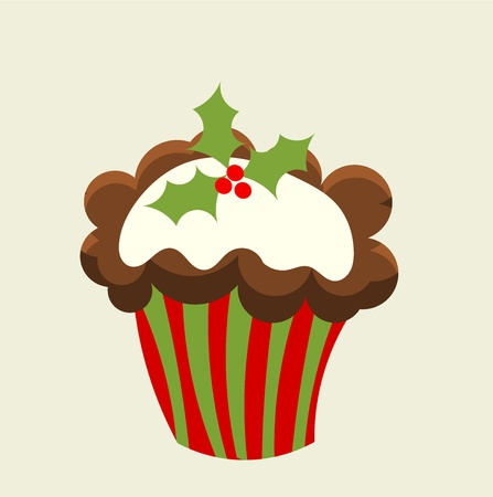 Christmas cupcake with holly berry.  Vector