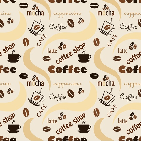 latte art: Coffee seamless background Illustration