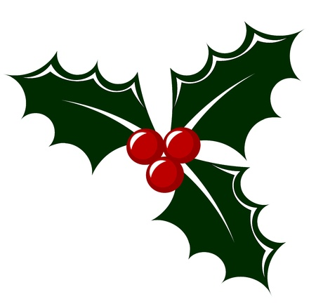 holly leaves: Holly berry icon illustration. Symbol of Christmas