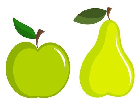 Iconos verdes de manzana y pera
