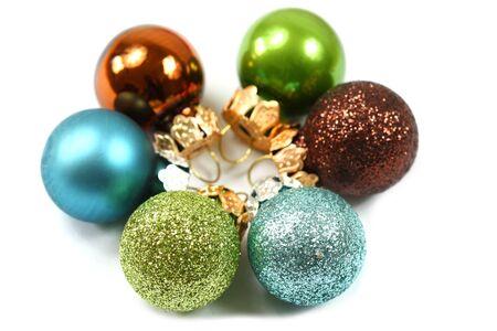 Closeup of colorful Christmas balls photo