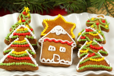 Christmas cookies with colorful sweet decoration photo