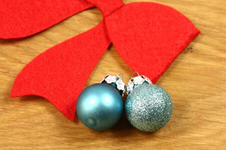 Christmas blue balls and red bow photo