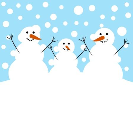 Happy snowman family.  Vector