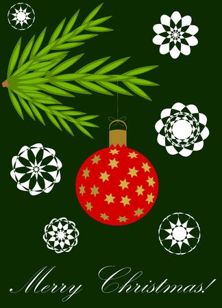 Green Christmas card with hanging ball from conifer branch Stock Vector - 11588047