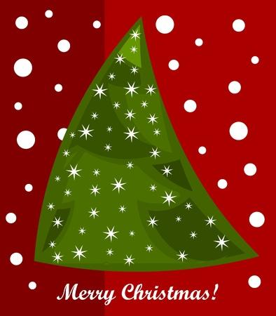 Christmas tree card.  Vector