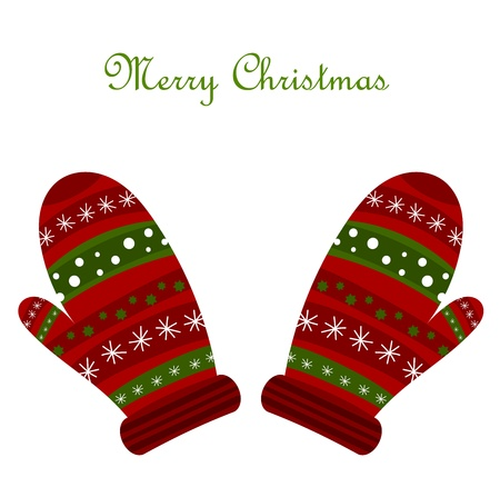 Christmas warm gloves.  Vector