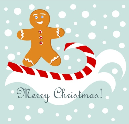 Christmas fun - gingerbread man surfing on candy cane.  Vector